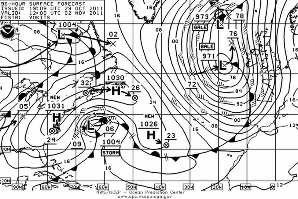 carte météo transat jacques Vabre 2011 - TML Voile